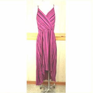 Apt 9 ~ Magenta Black Striped Wrap Look Assymetric